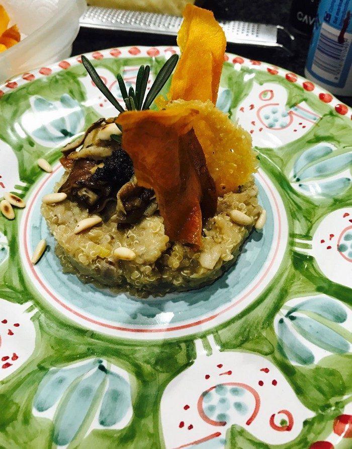 risotto de quinoa con setas y trufa negra